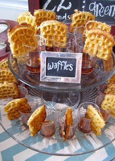 Shabby chic pumpkin party mini foods with chalkboard labels: waffles