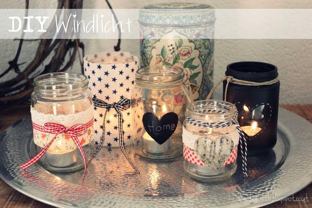 DIY Windlicht aus Marmeladengläser