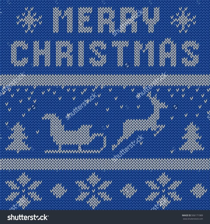 Merry Christmas Scandinavian style seamless knitted pattern with deers. Vector illustration