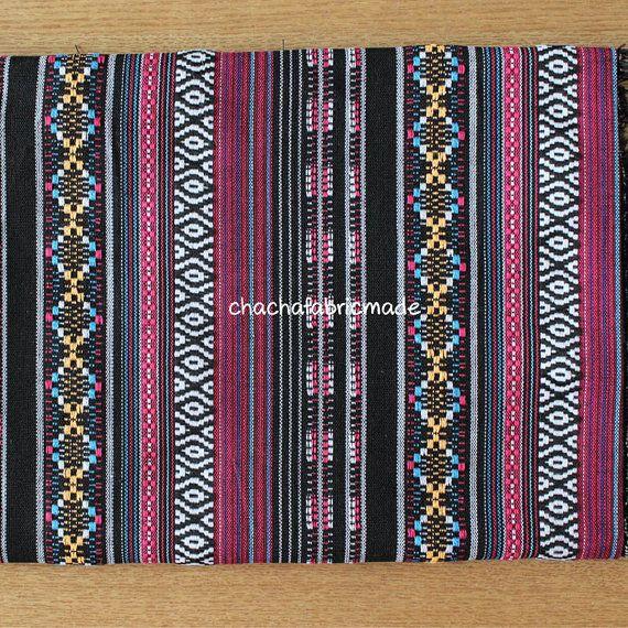 Stammes-Stoff ethnischen Stoff Aztec Stoff Native Stoff BOHO unkonventionellen Stil Tischdecke Stoff Hand gewebt Farbe Streifen Stoff halb Yard