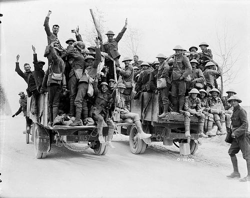 Happy Canadians who captured Vimy Ridge returning to rest. May, 1917