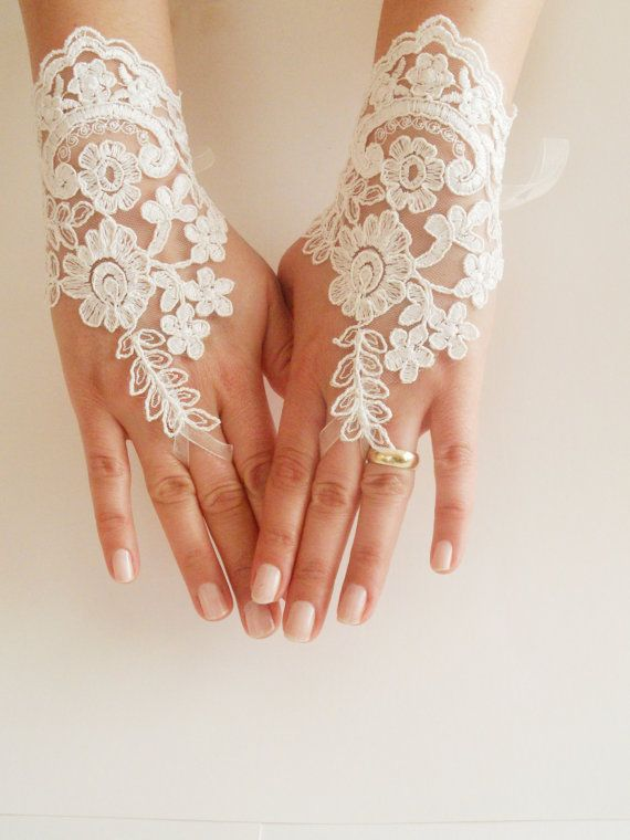 Free Ship Bridal Glove ivory lace gloves Fingerless by WEDDINGHome, $30.00