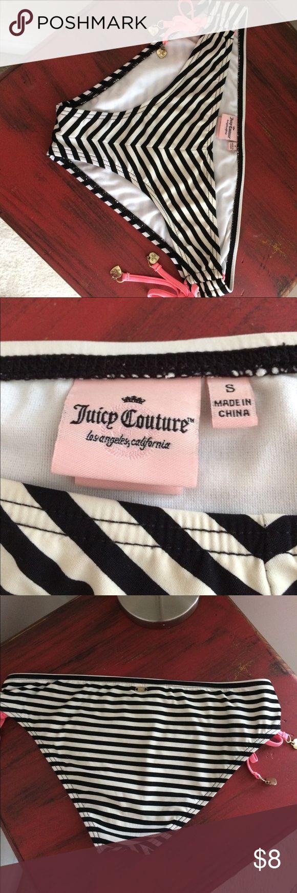Juicy Couture bikini bottoms Cute black and cream striped bikini bottoms - looks great with a black top Juicy Couture Swim Bikinis