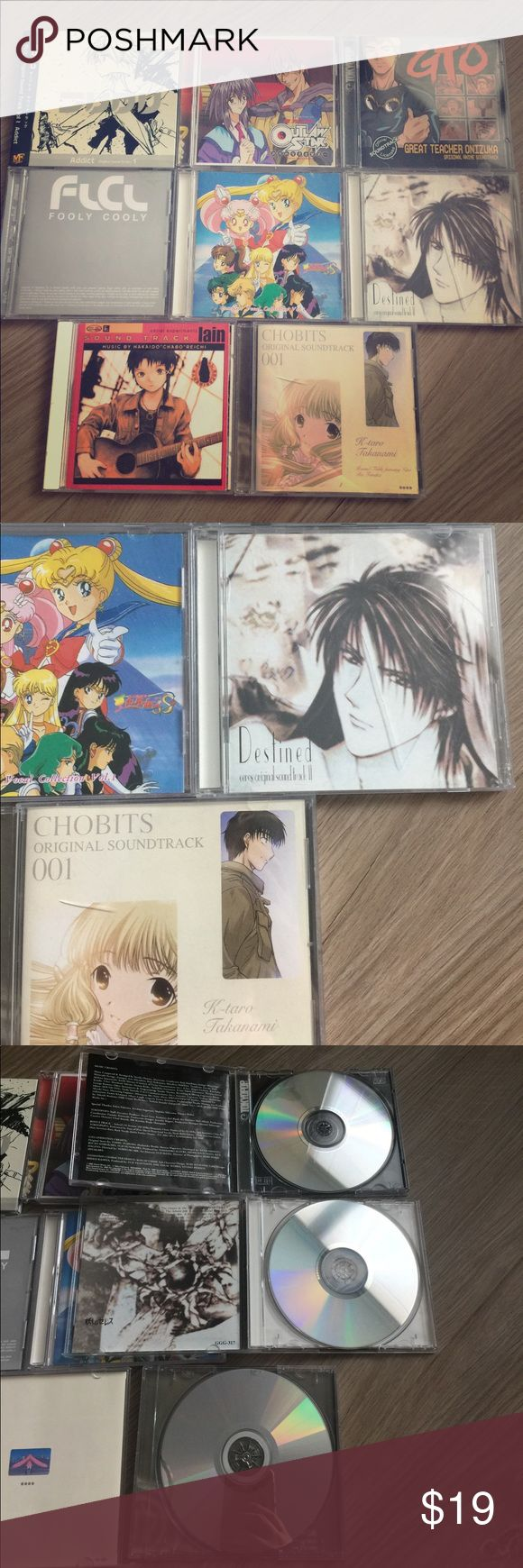 Anime OST CDs Sailor Moon Outlaw Star FLCL Chobits Anime Soundtracks!!! I have some of THE BEST old school anime CDs for sale as a set. I may sell separates IF I can find a buyer for each. Sailor Moon, FLCL, Outlaw Star, Chobits, Ayashi no Ceres (Ceres Celestial Legend), Serial Experiments Lain, and GTO. Please note that all discs have been well loved/listened to, but are in good playable condition. The cases may be cracked, broken, and falling off hinges. All CDs come with their original…