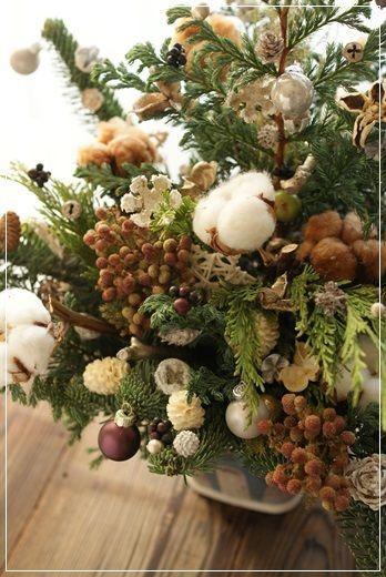 【今日の贈花】シックなクリスマスツリー&スワッグ|