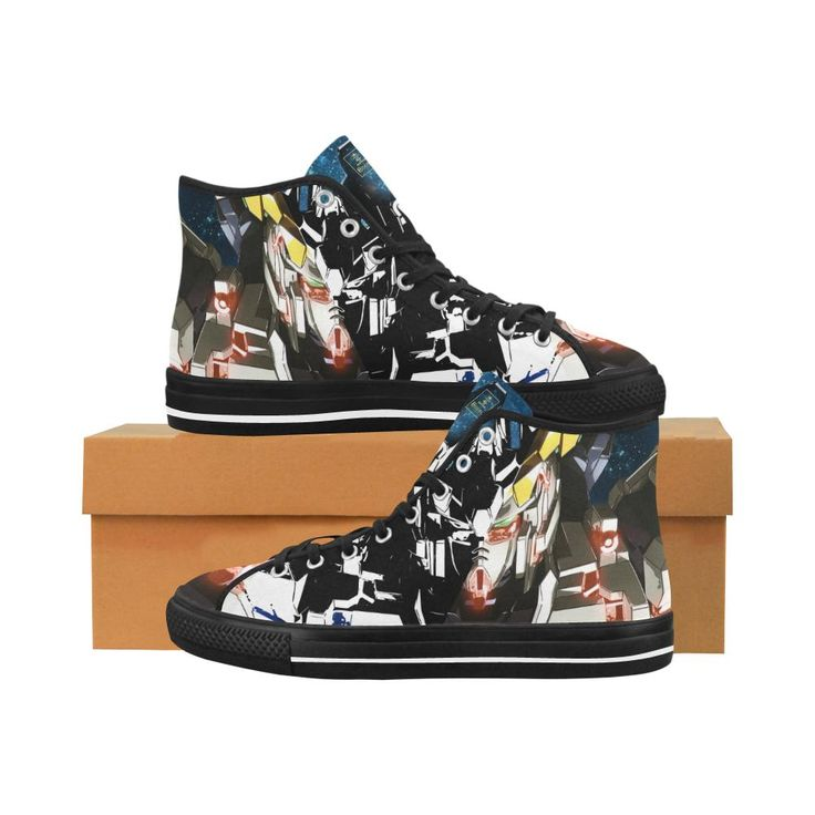 Men's High Top Sneakers featuring the Unicorn Gundam from the World Popular Gundam Franchise, this is a must have for all Gunpla fans! Price $69.95 Visit link to purchase