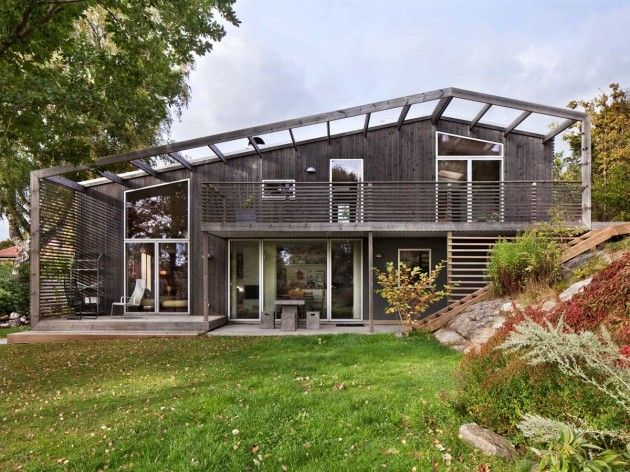 Arctic Studio designed the Green Bean house for a family in Onsala, Sweden.