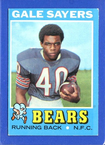 NFL Hall of Fame Running Back Gale Sayers RB Chicago Bears what he did in a career shortened 6 years was more than most RB's who've played longer and he still returned kicks and punts as well, unheard of nowadays