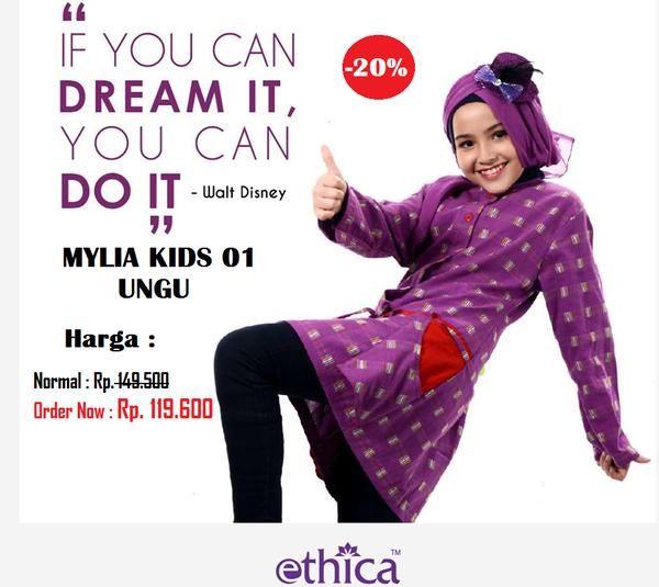 Jual beli Baju BLUS ANAK MYLIA KIDS UNGU di Lapak Aprilia Wati - agenbajumuslim. Menjual Baju Muslim Anak - MYLIA KIDS UNGU Size 9 Warna : Ungu Size: 9 Harga Normal : Rp. 149.500  Baju atasan anak ETHICA ready size 9, untuk anak usia 8 atau 9 tahun.  Modis dan nyaman dipakai, bahan mudah menyerap keringat.