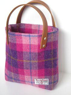 Pink and Purple Check Harris Tweed Handbag