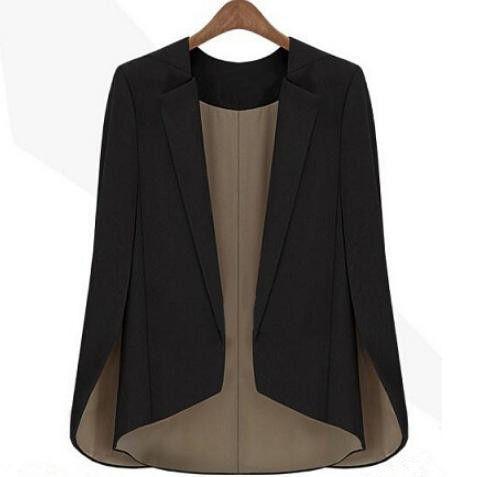 Женщины в базовые пальто приталенный костюм черный куртка взлетно посадочной полосы шаль мыс пиджак купить на AliExpress