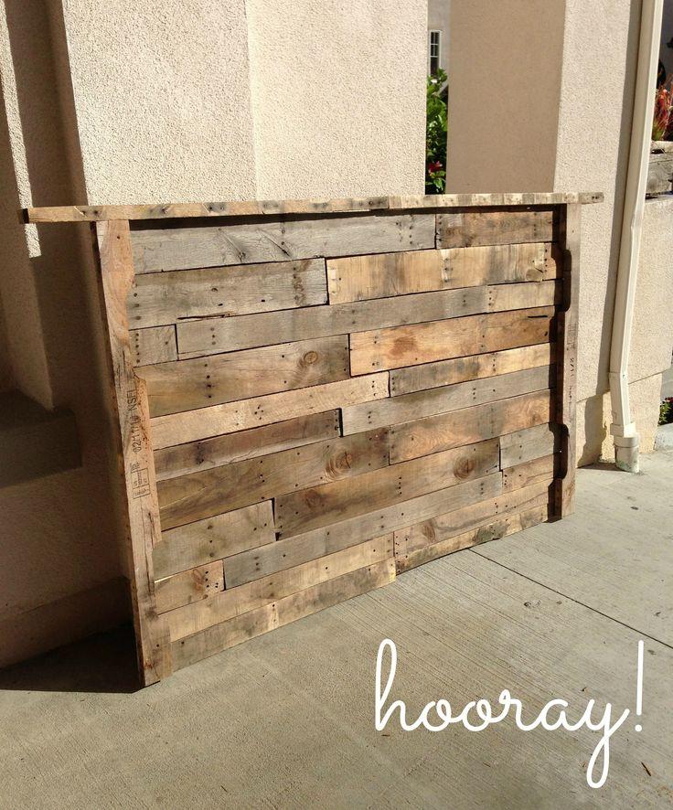 Diy driftwood headboard my of the outdoors pinterest for Pallet wood headboard