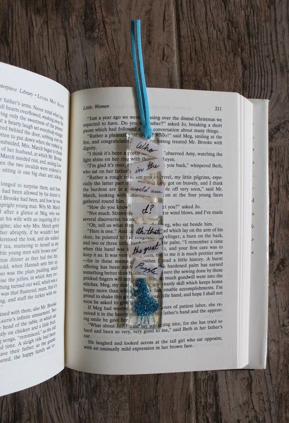 Handmade Bookmark with Tassel Fabric Alice in Wonderland Fabric