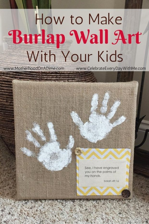 Easy DIY Burlap Wall Art that kids can make