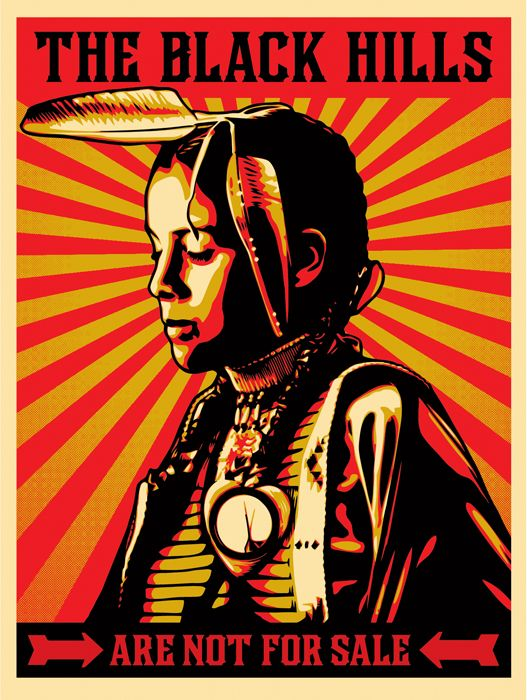 Shepard Fairey's print to raise awareness of- and money to fight against- the sale of sacred Lakota land for mining.