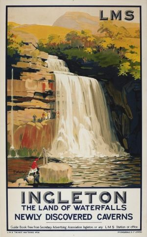 Ingleton LMS Railway Whatley, 1930s - original vintage poster by F Whatley listed on AntikBar.co.uk