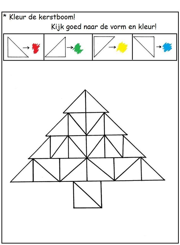 * Kleur de kerstboom op patroon...