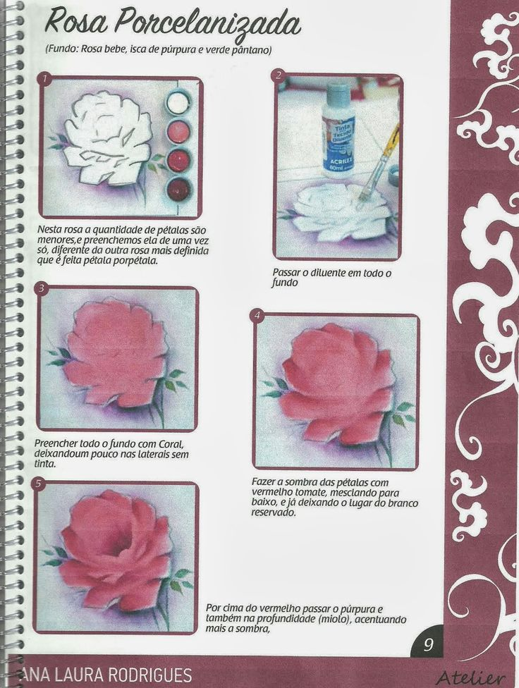 Talita Monteiro: Como Pintar Rosa Porcenalizada/Wilma Cherpinsky board on painting roses, beautiful projects!