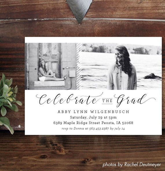 Senior Graduation Invitation and Senior Graduation Announcement // Printable PDF // Instant Download // High School Senior // Modern Stripe