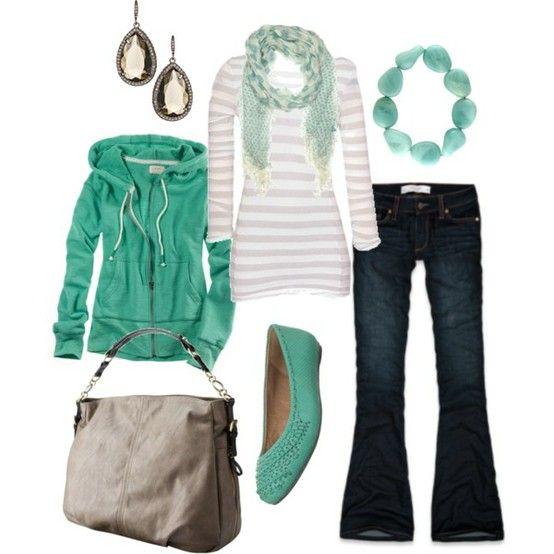 (Teacher Style) Dark wash boot cut jeans - gray and white stripe long sleep - teal scarf - teal bracelet - teal flats - teal zip up hoodie - diamond drop earrings