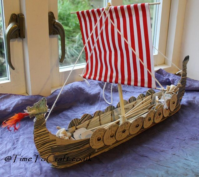 Viking boat craft activity for children. Learning history
