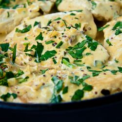 Delicious and creamy, this chicken dish takes less than 20 minutes to cook and can be served with literally anything.