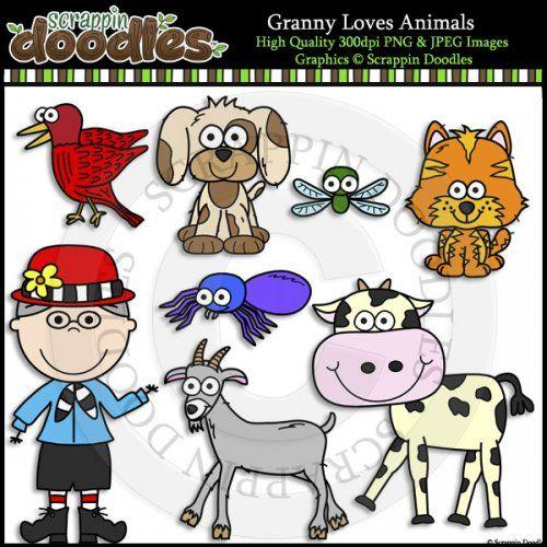 Granny Loves Animals Clip Art & Line Art