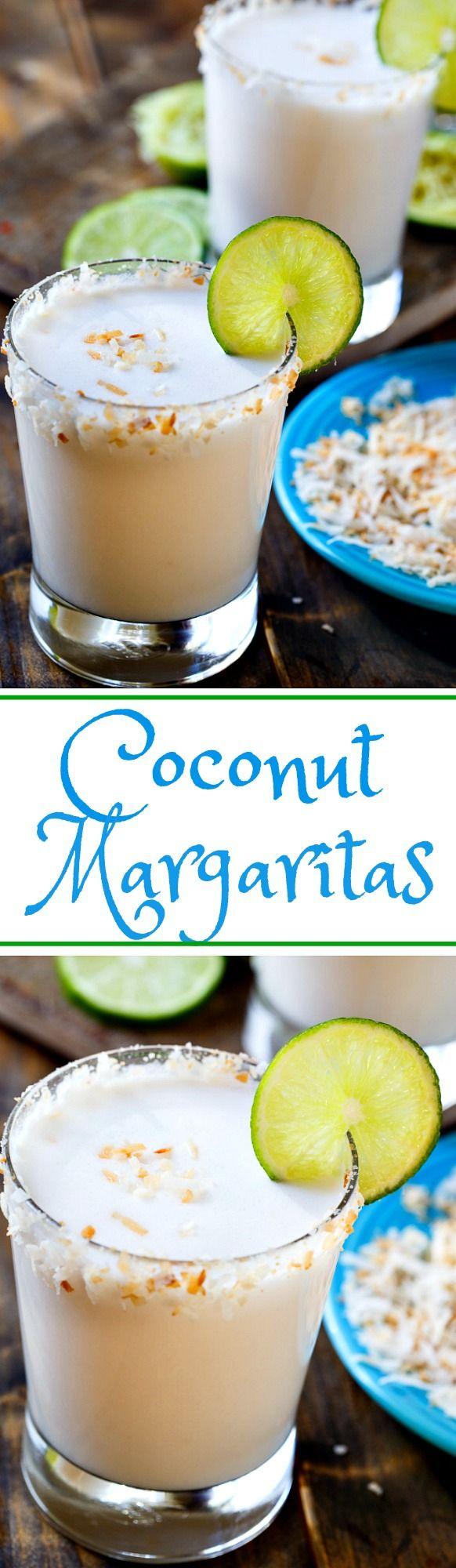 These Coconut Margaritas are so creamy and easy to make.
