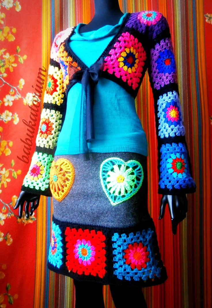 Granny Square Bolero - The Ultimate Circles To Squares Design In 22 Colors Of The Rainbow. $117.00, via Etsy.