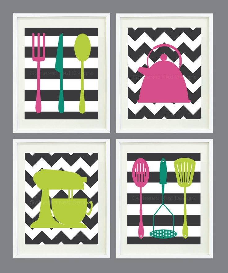 """Kitchen Art Prints - Chevron and Stripes - Set of 4  - Home Decor - 8""""x10"""" - In Fall 2012 Pantone Colors OR Choose your own colors. $52.00, via Etsy."""