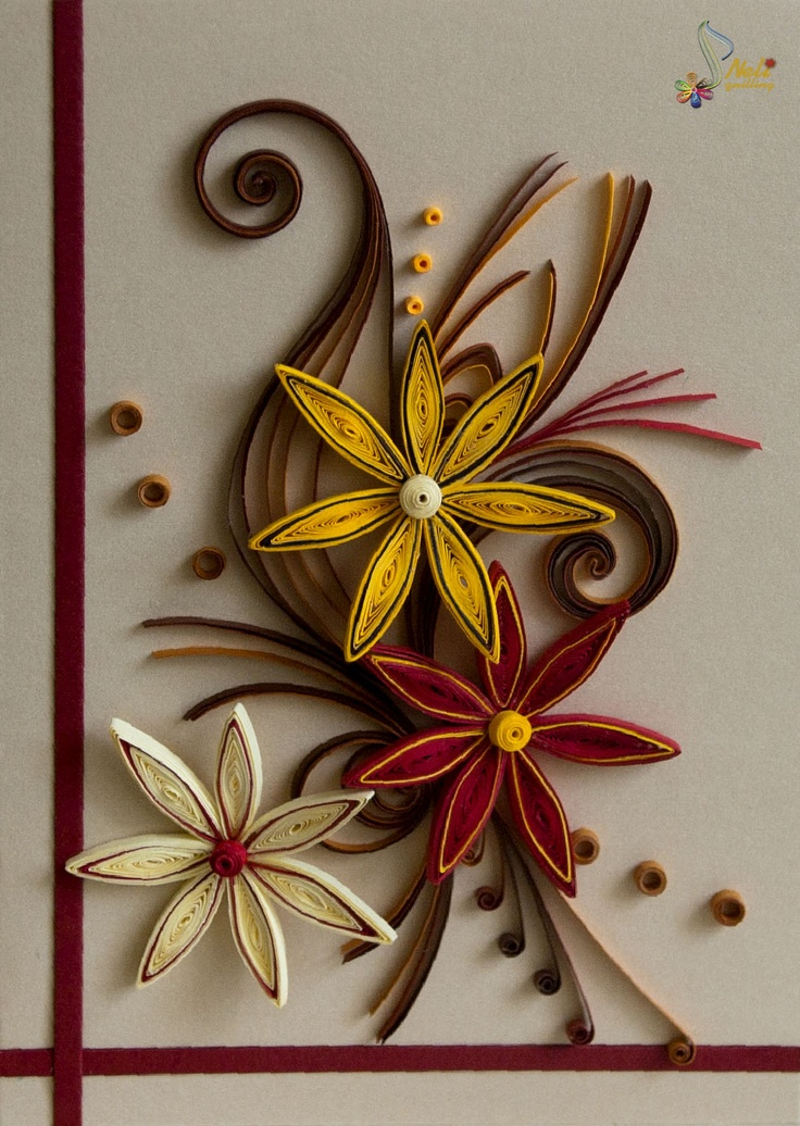 85 best images about quilled cards on pinterest for Paper quilling work