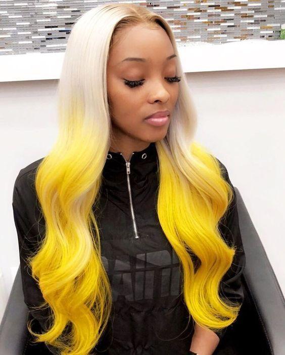 2019 的 13*6 Lace Frontal Synthetic Wigs Platinum