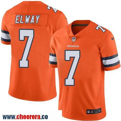 ... Mens Denver Broncos 7 John Elway Retired Orange 2016 Color Rush  Stitched NFL Nike Limited ... f09524110