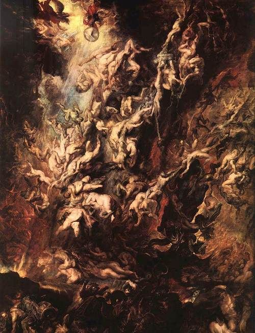 Peter Paul Rubens, Fall of the Rebel Angels', 1618-20. (Those who have rebelled from the concept of good or (synonymously) normal behaviour are often depicted suffering sexual tortures, perhaps ironic in light of the now acceptable blur of sexual pain & pleasure.)