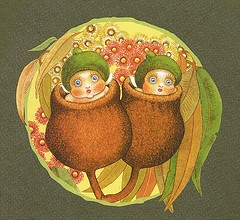 """Gumnut babies. Cecilia May Gibbs MBE (17 January 1877 – 27 November 1969) was an Australian children's author, illustrator, and cartoonist. She is best known for her gumnut babies (also known as """"bush babies"""" or """"bush fairies""""), and the book Snugglepot and Cuddlepie."""
