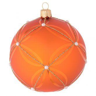 Palla vetro soffiato arancione e oro 100 mm | vendita online su HOLYART