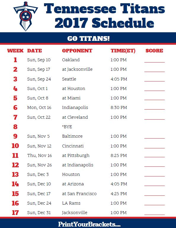 2017 Tennessee Titans Football Schedule