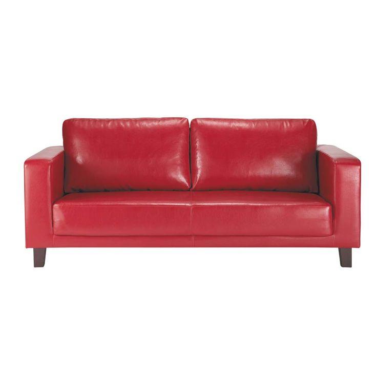 Sofá de 3 plazas de polipiel rojo Nikeo