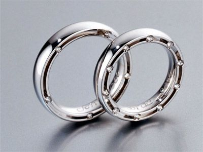 One result of refining: the white gold wedding rings used by Jennifer Aniston and Brad Pitt when they were married in July 2000.