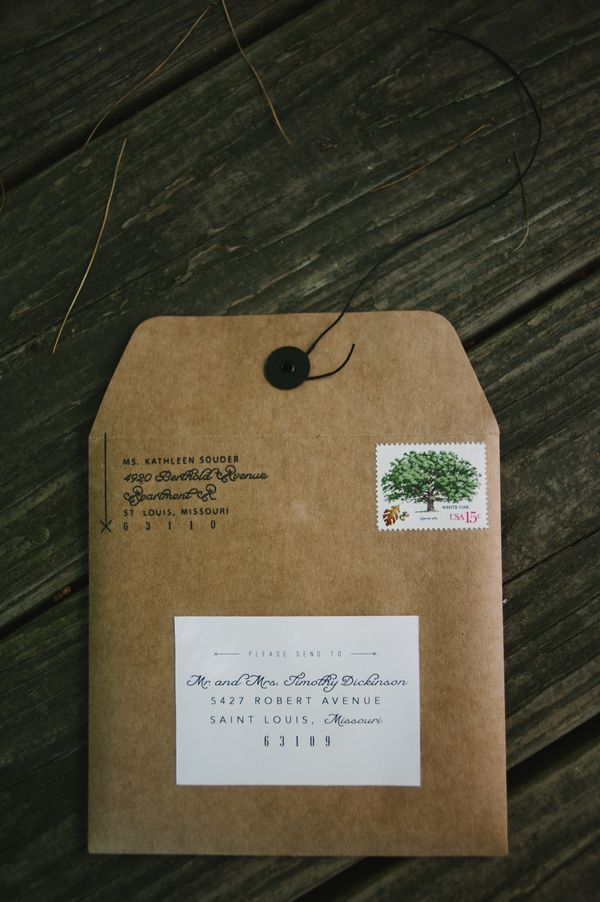 Beautiful craft paper square envelope with custom return address stamp and send to label. Photo: Dixie Pixel