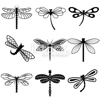 Dragonflies, black silhouettes on white background Royalty Free Stock Vector Art Illustration