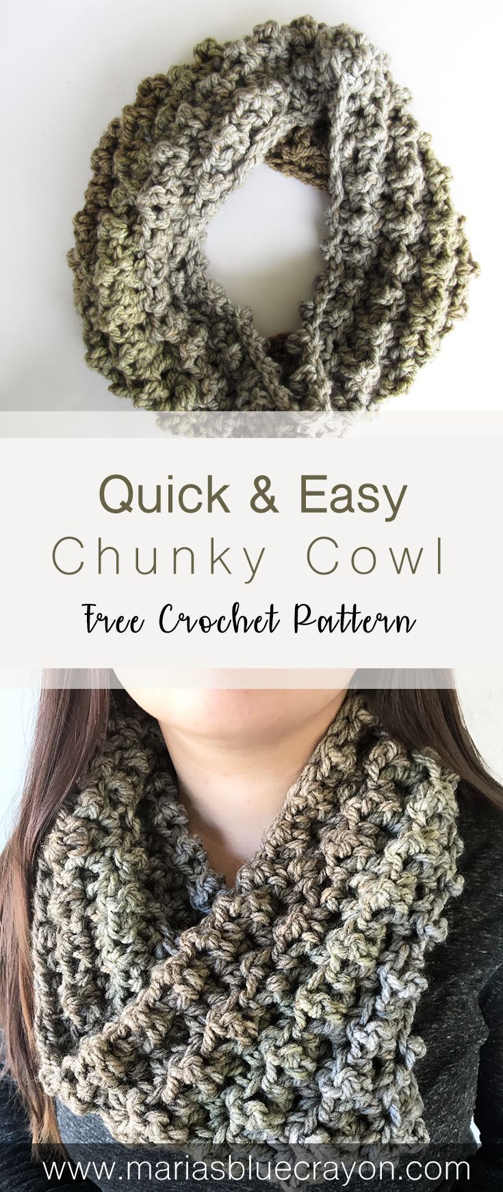 Easy & Quick Crochet Chunky Cowl | Free Crochet Pattern | Beginner Crochet Pattern | Last Minute Crochet Gift | Maria's Blue Crayon