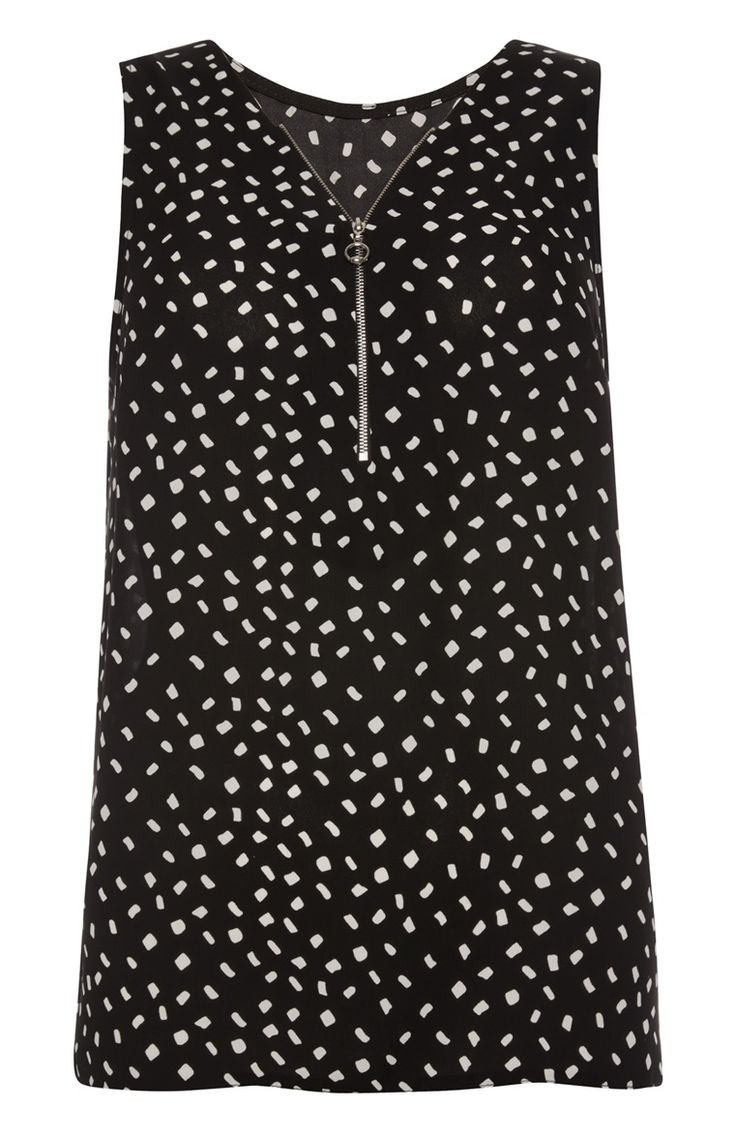 Primark - Black Print Sleeveless Zip Front Top