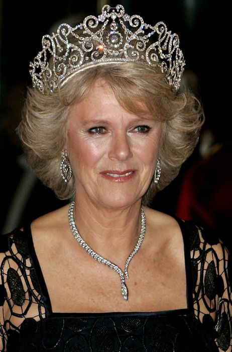 The Duchess of Cornwall wearing the Delhi Durbar tiara previously worn by Queen Mary and Queen Elizabeth The Queen Mother.