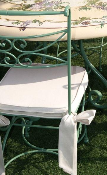 Fd Mediterranee - Galette de chaise 100 % coton avec noeuds élégants