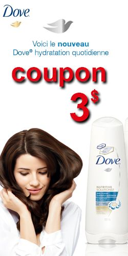 Coupon pour shampooing hydratant Dove.  http://rienquedugratuit.ca/coupons/shampooing-hydratant-dove/