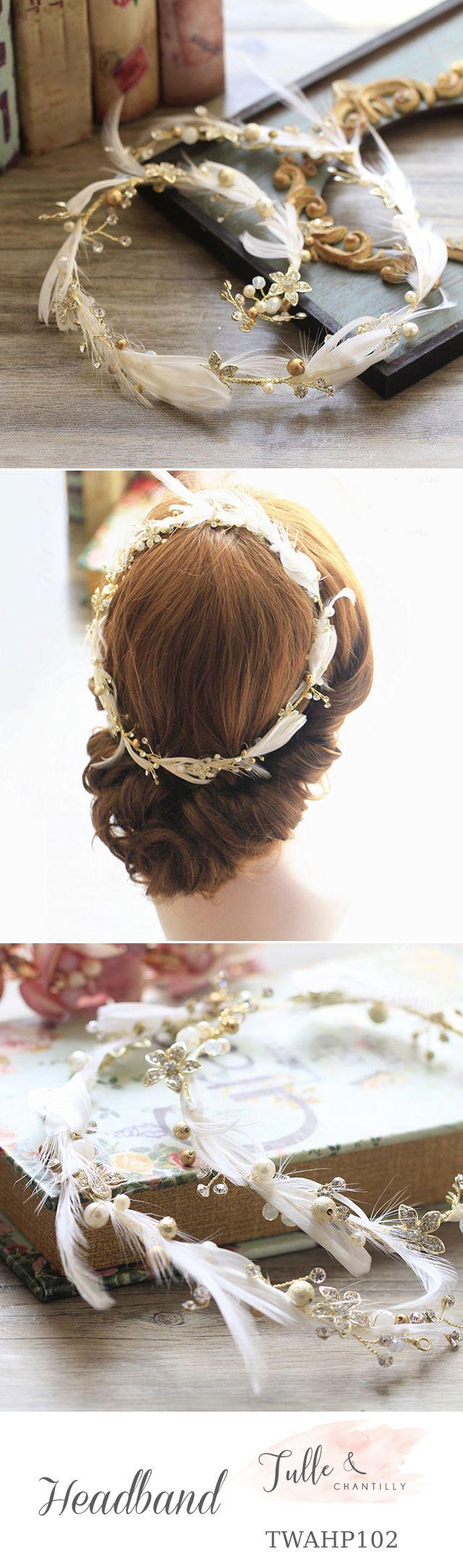 Feather   Bridal Headband Vines Wedding