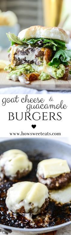 goat cheese guacamole burgers with caramelized onions by @howsweeteats ...