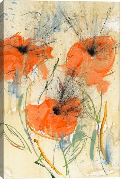 Orange Flowers Canvas Wall Art Print by Austin James