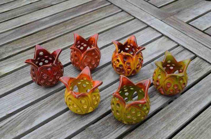 Theelichthouders tulp in keramiek